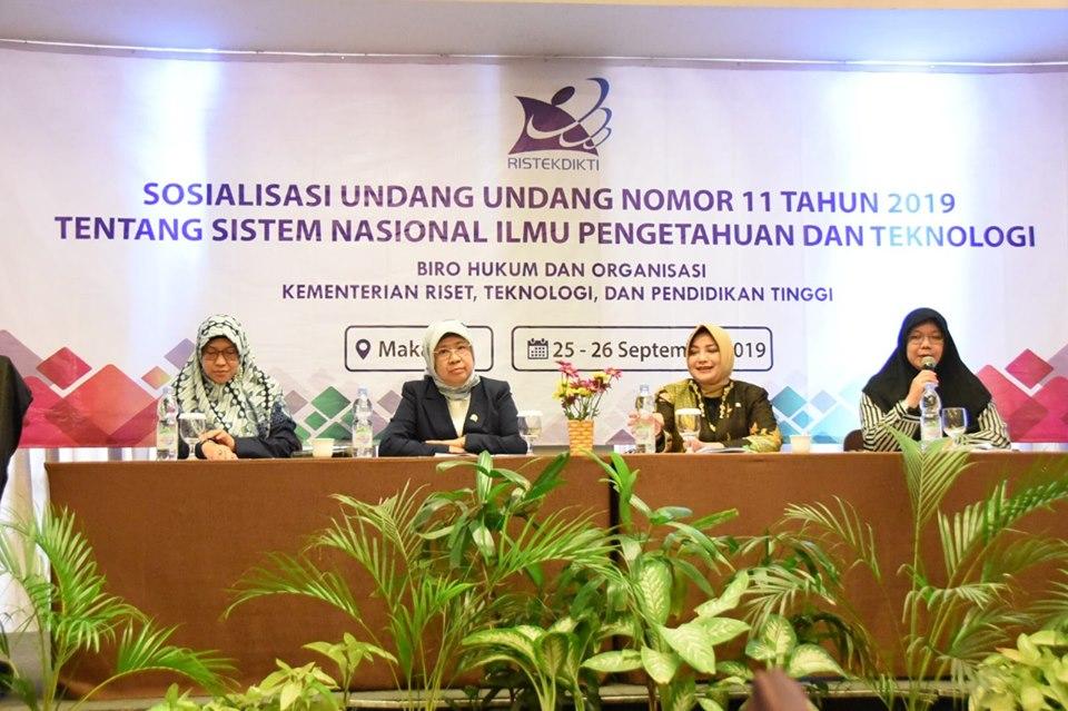 Ditjen Risbang Kemenristekdikti Sosialisasi UU Sisnas Iptek di Makassar