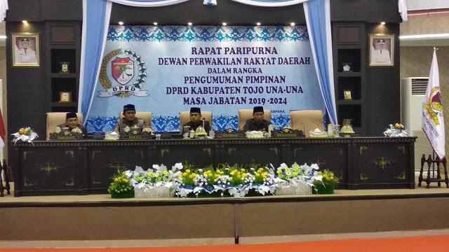 Rapat Paripurna Pengumuman Pimpinan DPRD Kabupaten Tojo UnaUna Masa Jabatan 2019-2024