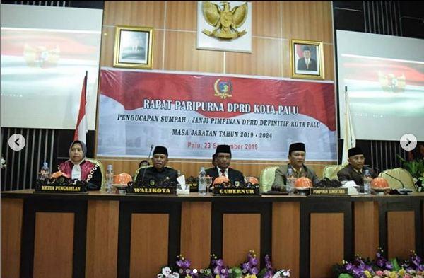 Walikota Palu menghadiri pengucapan sumpah Pimpinan DPRD Definitif kota Palu  2019-2024